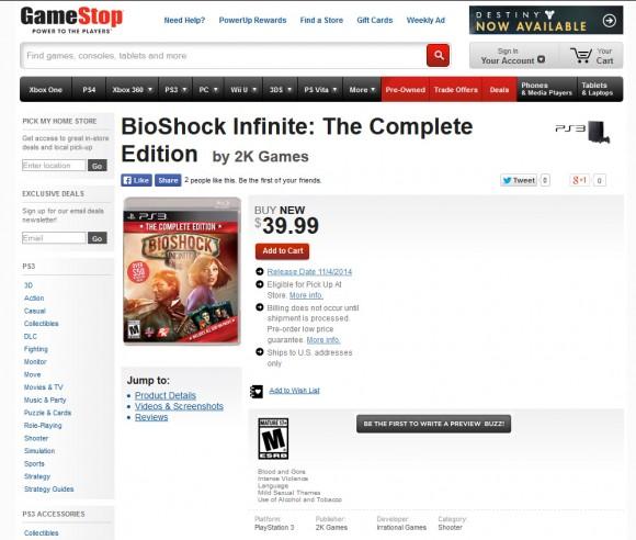 Bioshock Infinite - Complete Edition - Gamestop - PS3