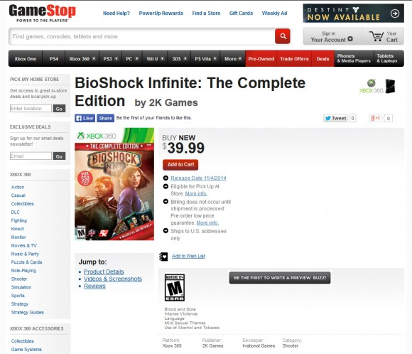 Bioshock Infinite - Complete Edition - Gamestop - X360