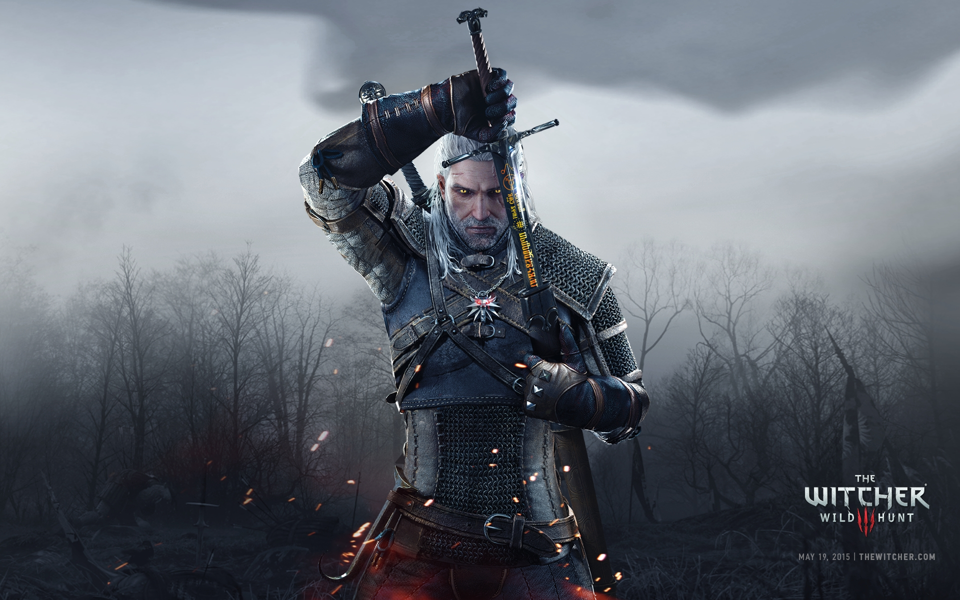 The Witcher 3 - Wallpaper Full HD - Geralt e Espada - 1920x1200