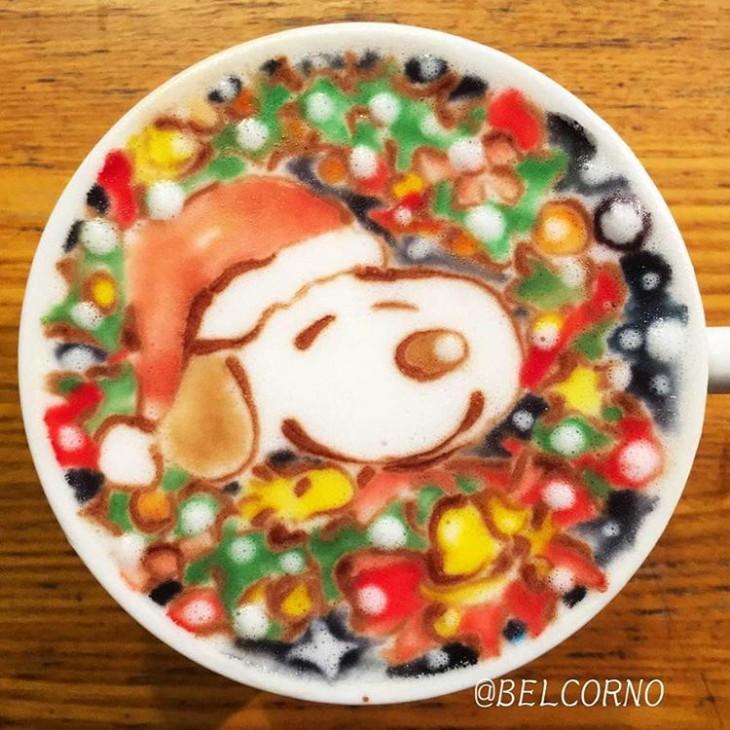 LatteArt - Arte em Cappuccino do Snoopy em versão natalina - Peanuts - 02