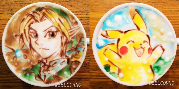 LatteArt de Games - Pikachu e Link