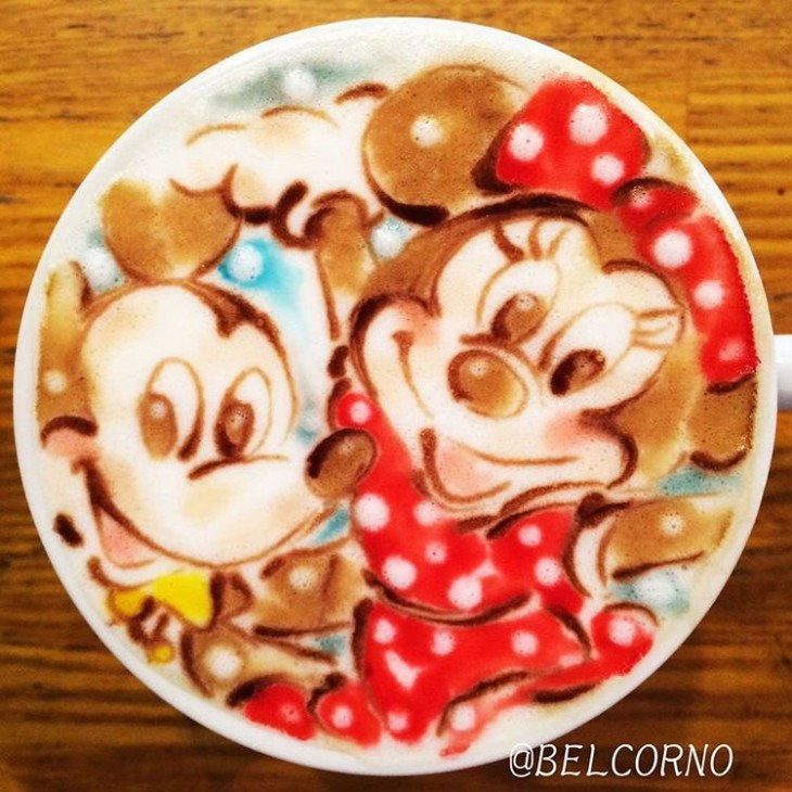 Mickey e Minnie - Disney - Coffe Art