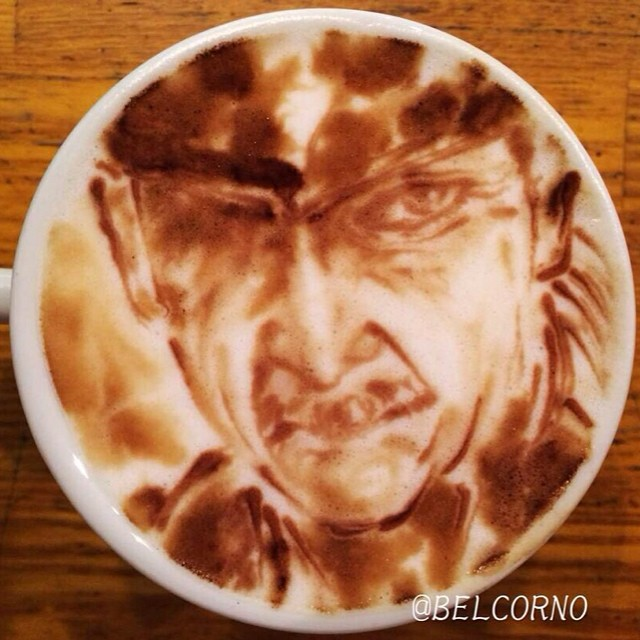 Old Snake em LatteArt - Metal Gear Solid 4