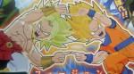 Vaza lista com vários dos personagens e fusões de Dragon Ball Fusions