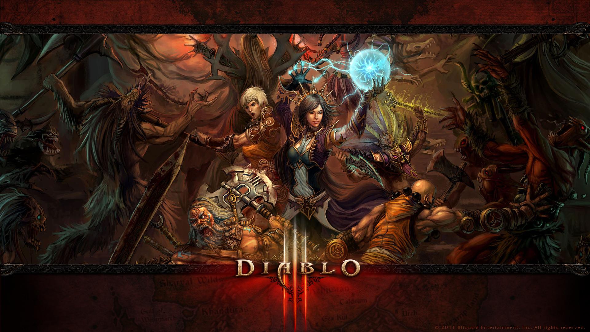 Diablo III - KeyArt Wallpaper Full HD - 1920x1080 - Classes em Combate