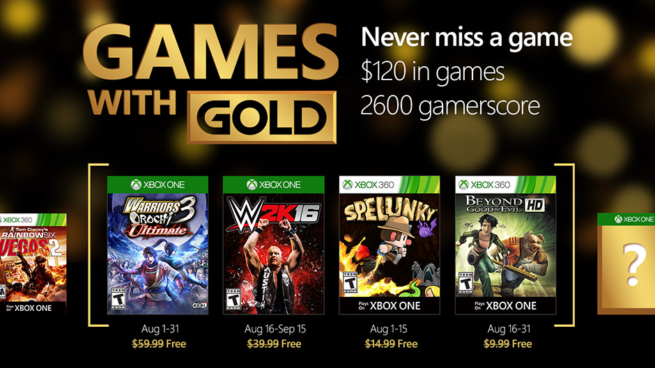 Games With Gold - Agosto de 2016