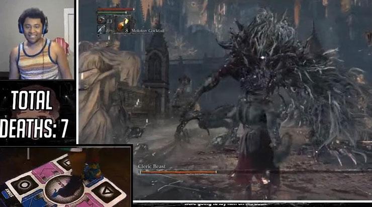 Tem um cara tentando zerar Bloodborne usando um tapete de dança