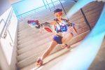 Veja um belo cosplay da Tracer, de Overwatch, com a skin dos Jogos de Verão