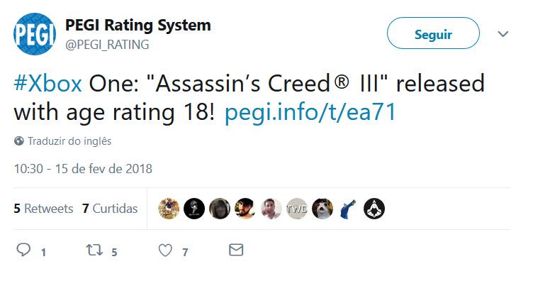 Assassins Creed III - PEGI