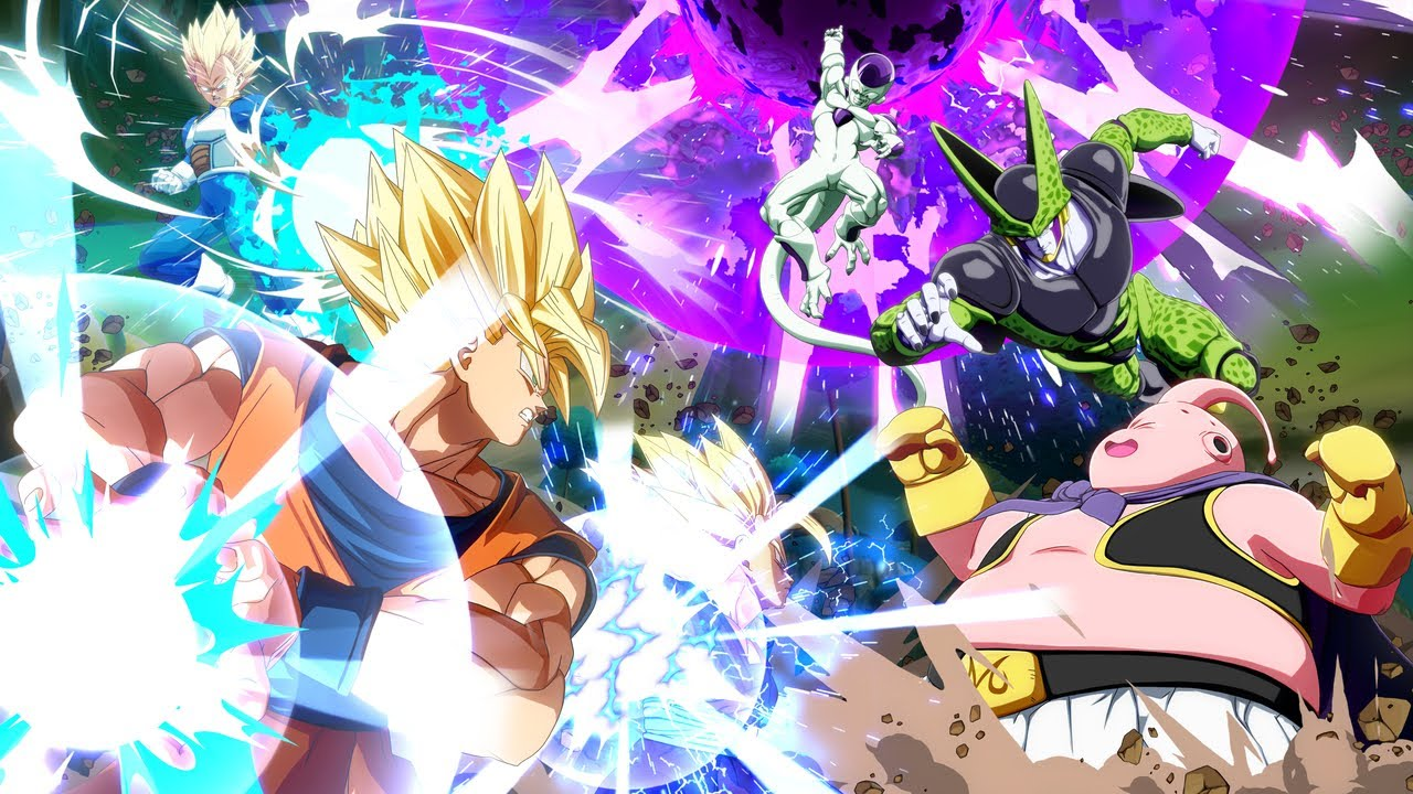Dragon Ball FighterZ - Personagens se enfrentando