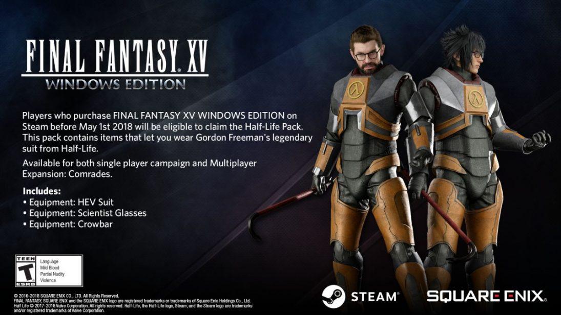 Uniforme de Half-Life é recompensa da pré-venda de FFXV para PC