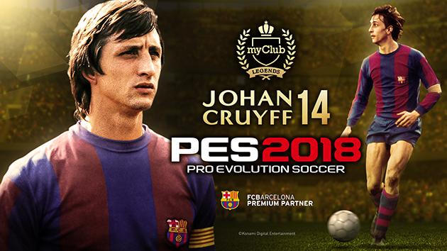 Johan Cruyff, jogador clássico do Barcelona chegará ao PES2018