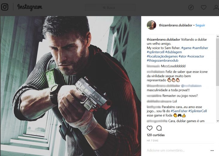 Splinter Cell Sam Fisher Dublador Instagram - Confirmacao