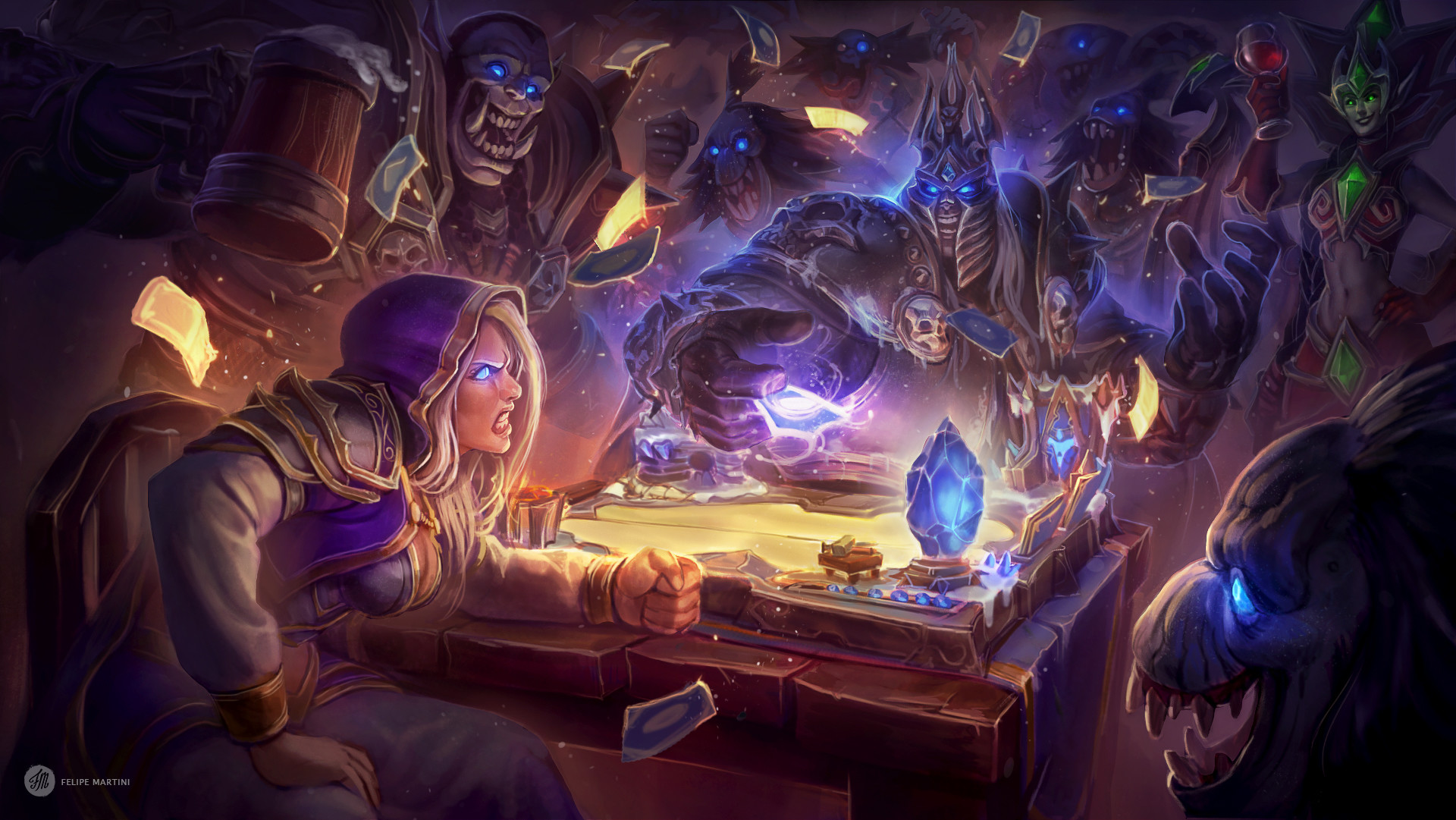 Hearthstone - Jaina vs Lich King - Arte por Felipe Martini