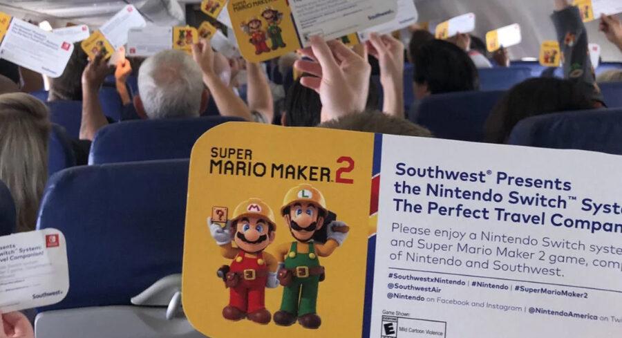 Passageiros embarcam em voo e ganham Switch e Super Mario Maker 2