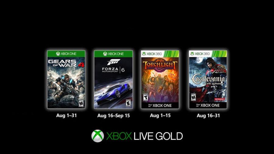 Xbox Games with Gold traz Gears 4, Forza 6 e mais em agosto