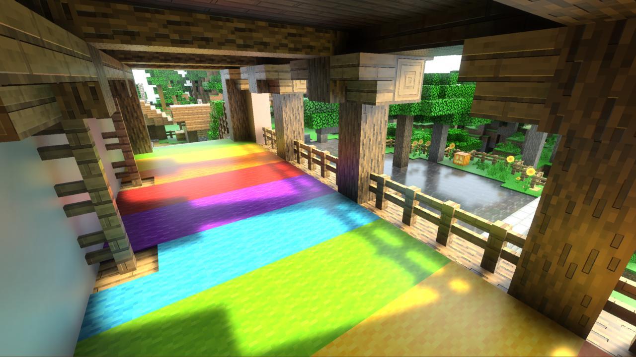 Minecraft com Ray Tracing na GeForce RTX. Imagem: Divulgação