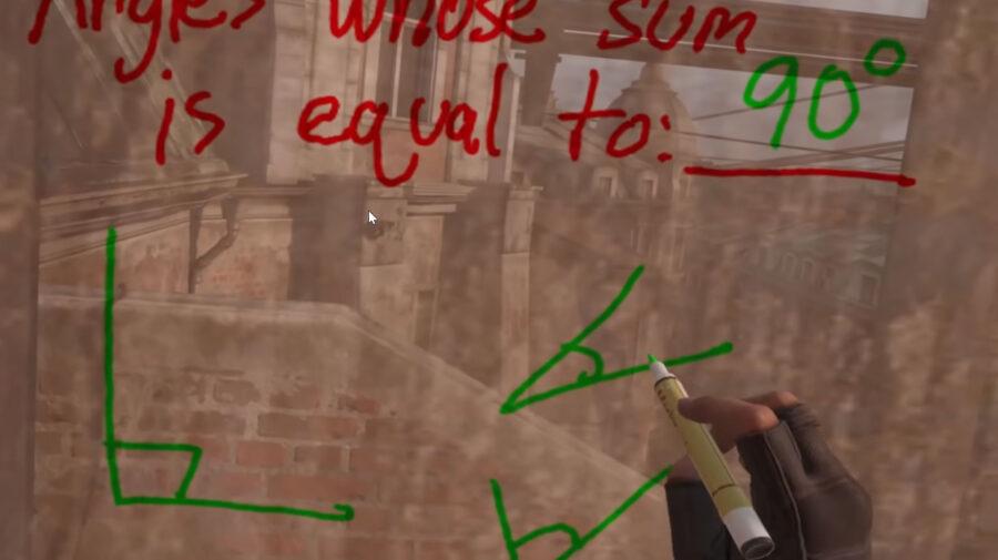 Professor dá aula de geometria dentro de Half-Life: Alyx