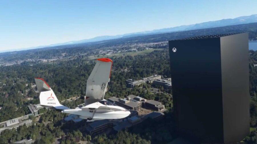 Jogador adiciona Xbox Series X gigante na sede da Microsoft no novo Flight Simulator
