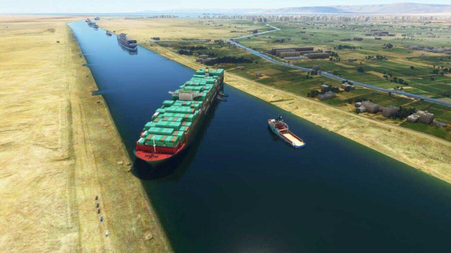 Mod para Microsoft Flight Simulator permite ver o navio encalhado no Canal de Suez